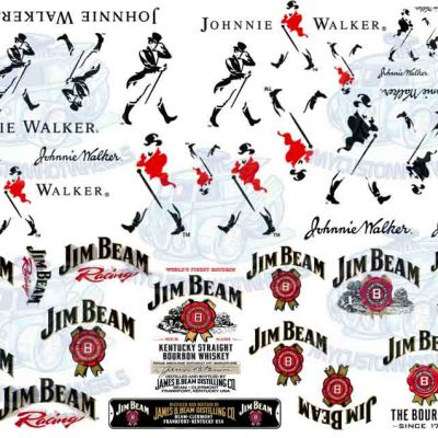 Jim Beam and Johnnie Walker Decals for 1-24 scale model cars