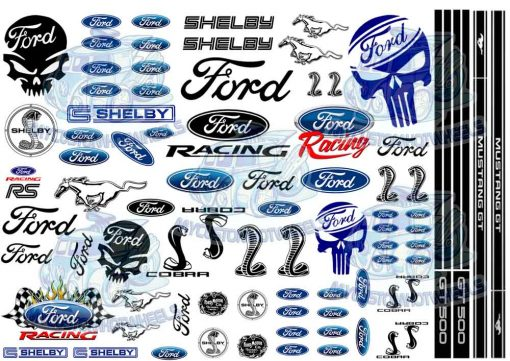Ford Racing Decals for 1:24 scale model cars