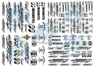 Mooneyes racing decals on clear for 1:32 scale slot cars