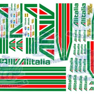 alitalia racing decals for model cars in 1:43 scale