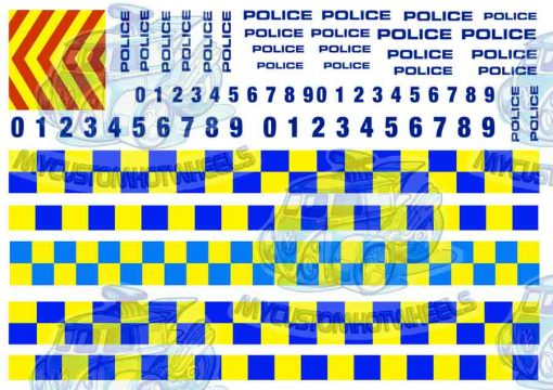 UK and European Police livery - waterslide decals for Hot Wheels